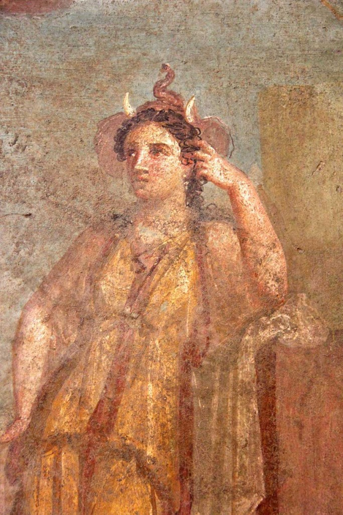 Painting of a female figure wearing an elephant headdress representing Africa