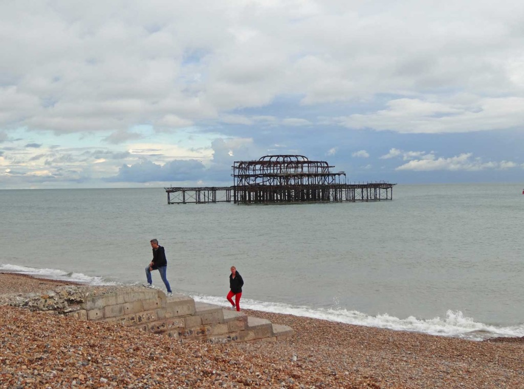 Burnt out ruin of the West Pier in Brighton