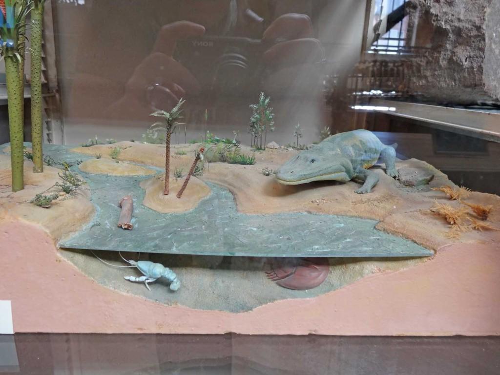 A Diorama in Paris showing prehistoric creatures